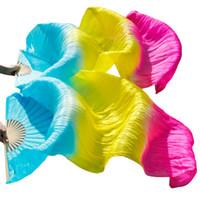 abanicos de seda amarilla al por mayor-100% Seda Natural Fans para danza del vientre 1 par de accesorios para danza del vientre Seda Fans largas Hechas a mano Colores degradados teñidos Turquesa + Amarillo + Rosa