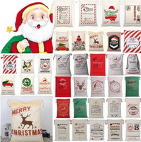 Wholesale christmas present bags for sale - Group buy New styles Christmas Canvas drawstring bag Drawstring Bag Reindeers Santa Sack Bags Drawstring Canvas Present Bag Xmas bags Decorations