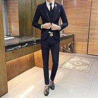 neue art hochzeitskleid passt männer großhandel-neue Männer Anzüge reine Farbe britisches Stil Temperament gut aussehendes dünnes Brautkleid Business-Anzug