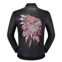 erkek modası sahte deri ceket toptan satış-SıCAK tasarımcı marka P erkekler kafatasları Faux Deri ceket hip hop Rahat ceket Yüksek Kalite erkek moda lüks Spor giyim Asya Boyutu M-3XL