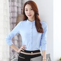 unterwäsche formal großhandel-Fashion Chiffon Formal Shirts Weiß Tops Korean Stehen Langarm Bluse Dünne Unterwäsche Neue Herbst Frauen Blusen Z2029
