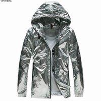 vêtements de style hipster achat en gros de-Dropshipping Silver Jacket Hommes Belle Protection Solaire Vêtements Hip Hop Outwear Vestes Street style hipster mode manteau noir tech