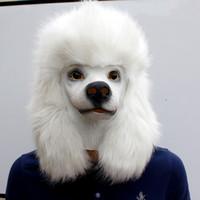 komik süslü kıyafet kostümleri toptan satış-Noel Beyaz Kaniş Köpek kafası Parti Ayrıntılı Hayvan Cosplay Fantezi Elbise Maskeler Yetişkin Komik Kostüm Direkli Lateks Maske