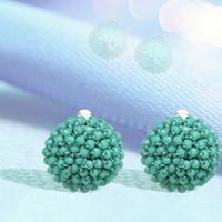 ingrosso gioielli di fiori acrilici-7 colori cristallo acrilico Perline maglia Fiori orecchini di clip per la donna elegante Orecchie romantiche Accessori Gioielli