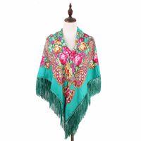 Wholesale russian art resale online - classic Russian style folk art shawl women s headscarf flower pattern Twill cotton scarf Fashion shawl scarf With tassel CM