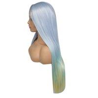 ingrosso fabbrica di capelli lunghi-Prezzo di fabbrica 1pc donne moda donna multicolore lungo gradiente capelli lisci anteriore parrucca 24 pollici parrucche stand Stocked Feb20