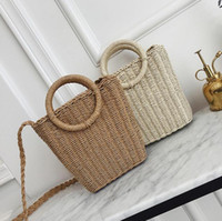 Wholesale small beach buckets for sale - Group buy Factory brand women handbag summer new straw beach bag simple atmosphere woven bucket bag fashion woven leisure handbag