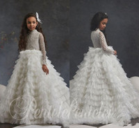 Wholesale sparkle tulle princess wedding dresses resale online - Sparkling Long Sleeves Lace Flower Girl Dresses For Wedding High Neck Sequined Toddler Pageant Gowns Tulle Tiered Kids Prom Dress