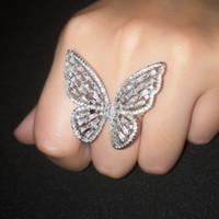 bagues fantaisie pour femmes achat en gros de-OCESRIO Zircon Argent Bague Papillon De Luxe Zircon Fantaisie Grand Anneaux Pour Femmes Bijoux bagues pour femme rig-f61