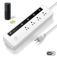 uzaktan kumandalı güç şeritleri toptan satış-WiFi Akıllı Güç Şeridi WiFi Depolama Ses Kontrolü Alexa Uzaktan Kumandası ile APP üzerinden 4 Akıllı Yuva 3 USB Şarj Bağlantı Noktası ve C Tipi Bağlantı Noktası