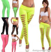 cortar leggings pretos venda por atacado-Novo Verão Mulheres Doce Cor Leggings Sexy Casual queimado calças Oco Leggings Rasgado Cut-out Bandage Mulheres Negras