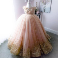 Wholesale line wedding dress brown sash for sale - Group buy Princess Sparkly Lace Flowers Girl Dresses Pearls Little Girl Wedding Dresses Vintage Pageant Dresses Gowns