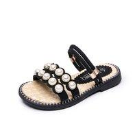 koreanische babys tragen großhandel-Mädchen Hausschuhe 2019 Sommer Neue Koreanische kinder Perle Baby Prinzessin Schuhe Mädchen Schuhe Zwei Tragen Rutschfeste Kinder Hausschuhe Size26-36