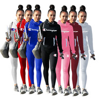 Wholesale women s high collared hoodie for sale – custom Champion brand Sweatsuits Women Piece Outfits High Collar Hoodie Pullover Pants Leggings Tracksuits Bodysuit Autumn Winter Sportwear C8102