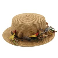 ingrosso cappelli da boa-Fashion Summer Straw Boater Cappello da spiaggia Sun Sailor Women Ladies Bowler Top Cap Hatband