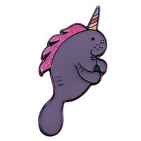 broches mar venda por atacado-Party manatee brooch cute glitter unicorn pins pastel art badge sea animal jewelry funny kids girls gift