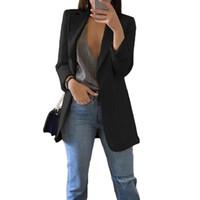 frauen arbeiten anzüge großhandel-Blazerjacke Frauenanzug im europäischen Stil 2019 Frühlingsberufsarbeitsstilklagefrauenblazer der langen Hülse outwear Blazer