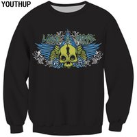 крутые черные толстовки оптовых-YOUTHUP 2019 New Spring Male 3d Hoodies Skull Print Hoodies Casual Black Sweatshirts Men Cool 3d Pullover Plus Size Streetwear