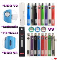 vape pen passthrough großhandel-Original UGO V3 V II Vorheizen VV Vape Pen 510 Gewinde Variable Spannung EGO Akku Evod 650 900 mAh Micro USB PassthroughCharger