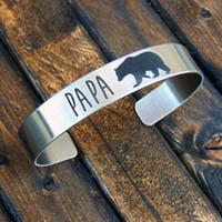 ingrosso braccialetto del braccialetto dell'orso-Pulsanti personalizzati da 8 mm Braccialetti Braccialetti Uomo Donna Acciaio inossidabile tono argento personalizzati Papa Bear Unisex Pulseras