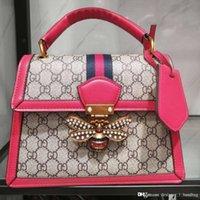 vintage tuval deri haberci çantası toptan satış-Tasarımcı çanta 2019 marka moda arı kadın Messenger çanta tuval + deri çanta zincir lüks omuz çantası