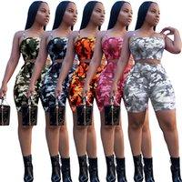 ücretsiz camo kıyafeti toptan satış-2019 Yaz Bayan Eşofman Camo Baskı İki Adet Kıyafetleri Acısını kemer Tops + Şort Kadın Giyim Bayanlar 2 parça Spor eşofman Ücretsiz DHL