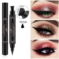 ingrosso timbro lungo-MP010 Professionale Double-end Eyeliner Timbro Matite Lisci Pigmenti di lunga durata delineador Waterproof Eye Liner Pen Cosmetics Makeup