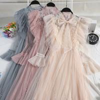 voile gauze großhandel-Frauen Frühling Plissee Perle Perle Lace Up Verband Bogen Kleid Elegante Dünne Hohe Taille Rüschen Mesh Gaze Voile Aufflackern Ärmel Kleider
