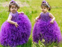 batas de bebé moradas al por mayor-Sheer Crew Neck Purple / Pink Vestidos para niñas pequeñas Vestidos con apliques de encaje Vestido de bola Princesa Cute Baby Girls Flower Girl Vestidos para mi