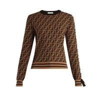 kimono kollu kazak toptan satış-Sonbahar Ve Kış Kadın F Mektup Kol Yay Bandaj T-Shirt Örme Kazak