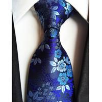 marineblaue seidenblumen großhandel-Fabrik 7 Stile Marineblau Blumen Blumen Jacquard Klassische Männer Krawatten 100% Seide Hochzeit Gravatas Bräutigam Krawatte krawatte