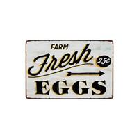 vintage lebensmittel dosen großhandel-Klassische Vintage FARM frische Eier Cupcake Reifen leckeres Essen Pizza Sandwich Nudeln Blechschild Coffee Shop Bar Wanddekoration Bar Metall Gemälde