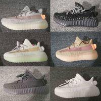 sapatos cor de rosa salmão venda por atacado-Kanye West Infantil V2 Runners True Form Static Triplo preto Argila Hiperespaço Crianças Tênis de Corrida Crianças Sapatilhas da criança menino menina sapatilha
