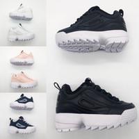 erkekler için kahverengi ayakkabılar toptan satış-FILA Disruptor II Yeni çocuklar oğlan kız bebek yüksek qaulity Çocuklar Için rahat Ayakkabı ebeveyn-çocuk kahverengi Siyah Pembe lüks moda tasarımcısı ayakkabı eur 28-35