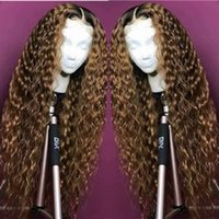Wholesale 1b 27 wig resale online - b Ombre Color Full Lace Human Hair Wigs Density Curly Lace Front Wigs Charming Blonde Full Lace Human Hair Wigs