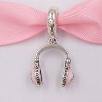 dangling colares venda por atacado-Autêntica 925 libras esterlinas grânulos rosa Auscultadores Dangle encanto encantos único estilo europeu jóia de Pandora pulseiras Colar 797902EN160