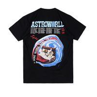 xl tshirts großhandel-ASTROWORLD TOUR TRAVIS SCOTT Sommer O-Neck Herren T-Shirts Kurzarm Schwarz Weiß Herren Tops T-Shirts