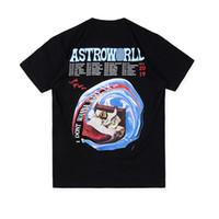 boyun üstleri toptan satış-ASTROWORLD TURU TRAVIS SCOTT Yaz O-Boyun Erkek Tişörtleri Kısa Kollu Siyah Beyaz Erkek T Shirt Tops