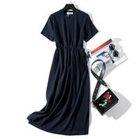 uzun pembe elbise yaz kısa kollu toptan satış-Uzun T-Shirt Elbiseler Kadın Yaz Sashes Bel Yarık Rahat O-Boyun Kısa Kollu Gevşek Ayak Bileği-Uzunluğu Elbise Kadın Pembe Pamuk
