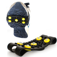 Wholesale anti slip snow shoes online - 5 Studs Ice Snow Anti slip Winter Grips Walking Climbing Skiing Shoes Cover Accessories Snow Anti Slip Spikes Grips Crampon ZZA213