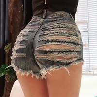 ingrosso jeans di spiaggia breve sexy-Pantaloncini da spiaggia sexy da donna Jeans buco alla moda Sottile Sport Vita alta Pantaloncini di jeans Cerniera dritto Cerniera solido Braccialetti casual Pantaloncini caldi Estate