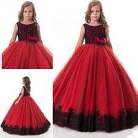 schwarze spitze rote blume großhandel-Rote Mädchen-Festzug-Kleider schwarze Spitze-Abschluss-Kleider für Jugendliche formale Kleidung Bogen-Blumen-Mädchen-Kleider für Hochzeiten