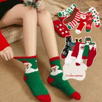 kadın için havlu çorapları toptan satış-Noel Çorap Kalın Havlu Mercan Kadife Çorap Kadınlar Kız Sıcak Yarım Kadife Yetişkin Noel çorap Kat Uyku Bulanık Çorap sıcak GGA2796