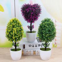 ingrosso bonsai trees-Piante artificiali calde Bonsai plastica Simulazione Albero Desktop Pot decorativi fiori finti Foglie Garden Plant Decor a forma di cuore