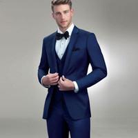 chaqueta formal azul para hombre al por mayor-Diseñador de trajes para hombre azul real de los padrinos de boda esmoquin con muesca solapa del novio Traje por encargo chaquetas formales con la chaqueta del chaleco pantalones