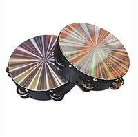 Wholesale painted black band for sale - Group buy Band Accompaniment Kid Tambourine Rainbow Black Drum Musical Instruments Toys Environmental Paint Circular Inches Inches ysa N1