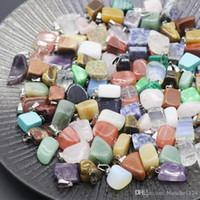 malakit taşları toptan satış-Düzensiz Doğal Taş Kolye Kolye Taş Akik Kristal Kuvars Turkuaz Malakit Yeşim Ametist Kolye ile Deri Zincirler