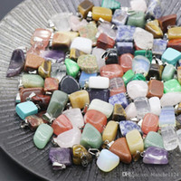 Wholesale natural green jade pendant for sale - Group buy Irregular Natural Stone Pendant Necklaces Gemstone Agate Crystal Quartz Turquoise Malachite Jade Amethyst Pendants with Leather Chains