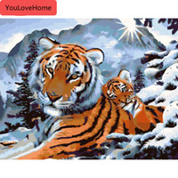 Wholesale oil painting animal scenery for sale - Group buy Pictures By Numbers Tiger Animal Kits Drawing Canvas Handpainted Diy Oil Painting Winter Scenery Home Decoration Art Coloring By Number