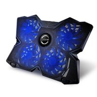 Wholesale laptop fan cooler led resale online - DSstyles COOL COLD USB Powered Slim Flat Notebook Laptop Cooler Cooling Pad Radiator with LED Four Fans for inch Laptop Gaming Daily